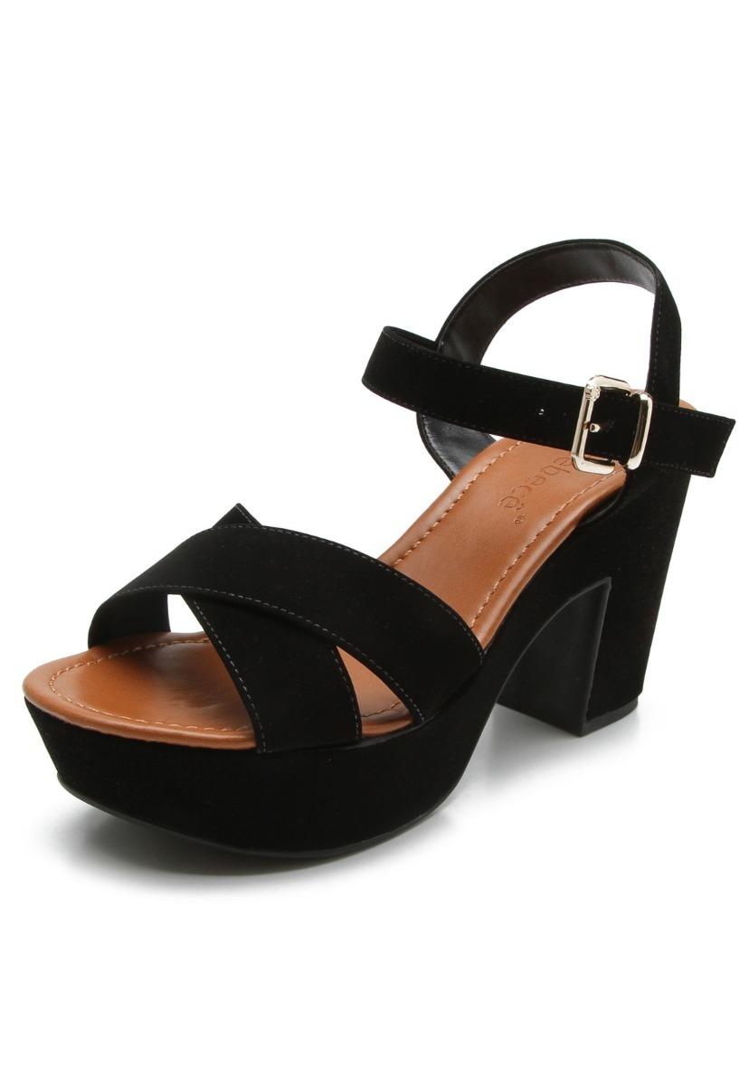 ec3ac1178a sandália feminina salto grosso meia pata bebecê 5123723. Carregando zoom.