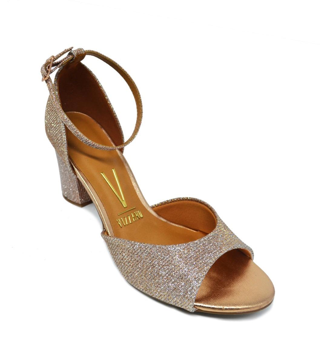 1212b255a sandália feminina salto grosso vizzano glitter - rosa ouro. Carregando zoom.