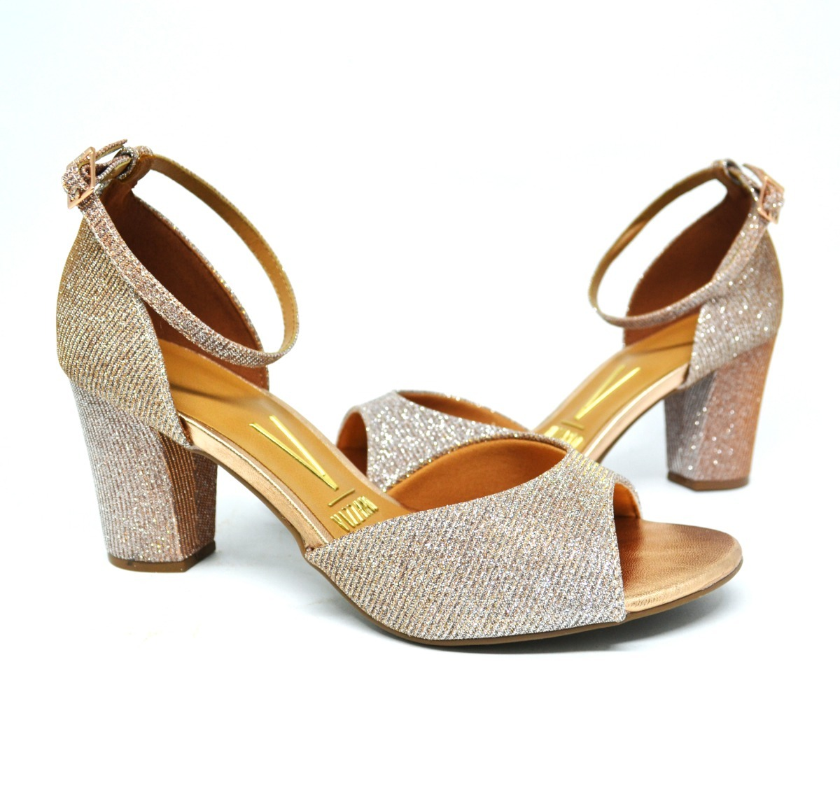 8d654360e5 sandália feminina salto grosso vizzano glitter - rosa ouro. Carregando zoom.