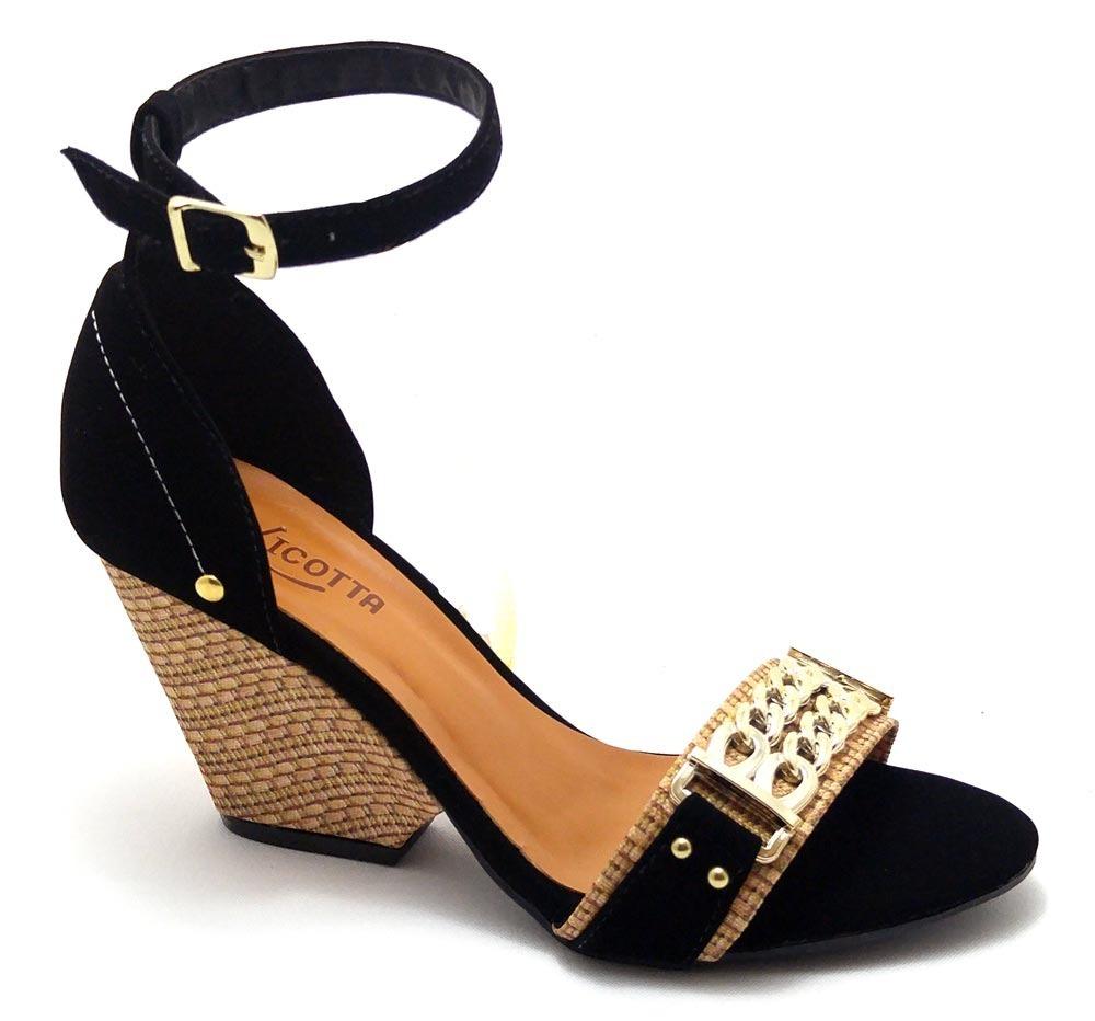7715e1650d sandália feminina salto médio anabela corrente tira fivela. Carregando zoom.