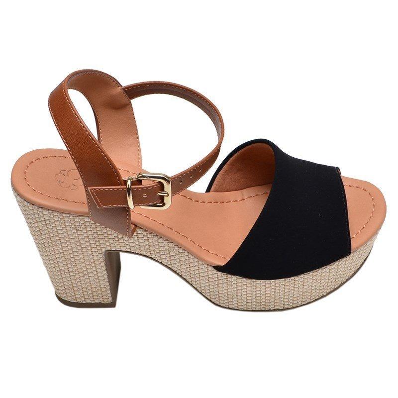 3b314629a0 sandália feminina salto médio bebecê preto e bege. Carregando zoom.