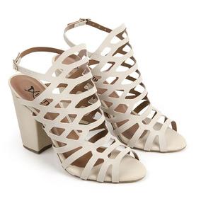 482756be9e Sandalia Gladiadora Salto Medio - Sapatos para Feminino Nude no ...