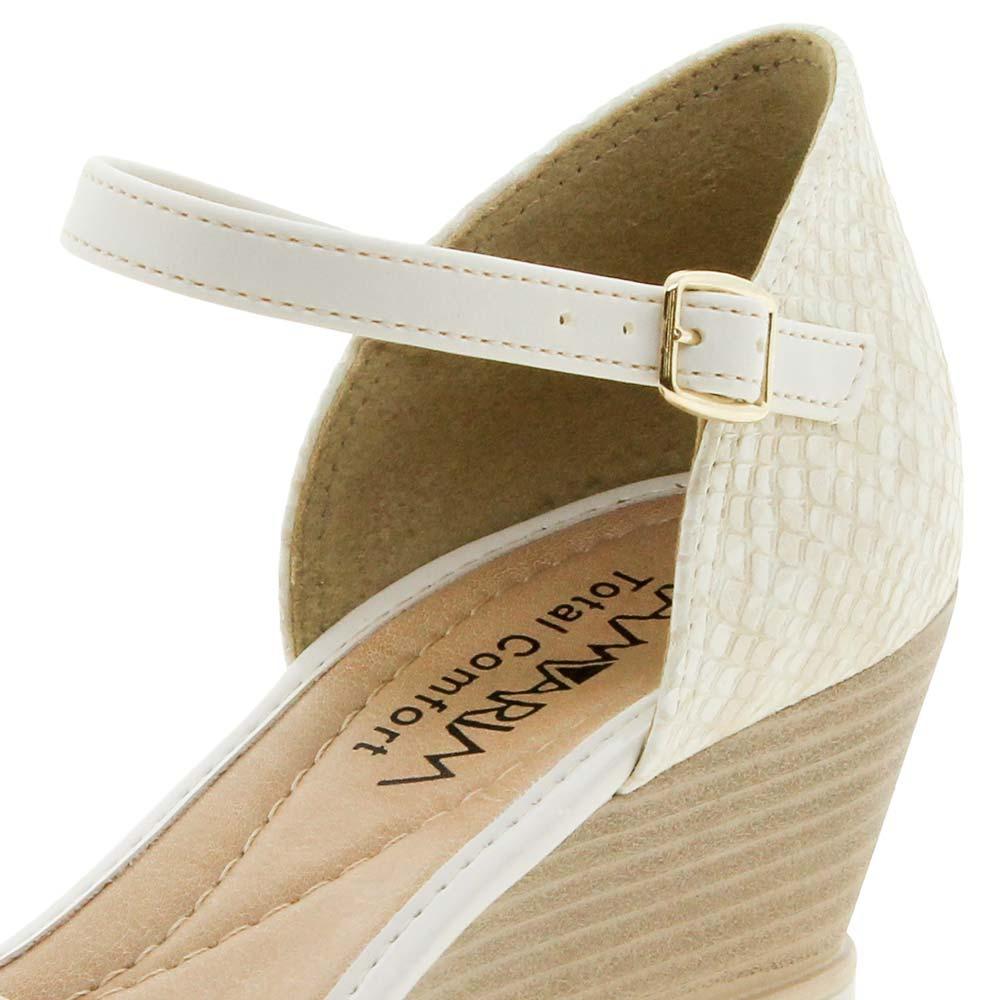 94bfe299f0 sandália feminina salto médio off/white ramarim - 178207. Carregando zoom.