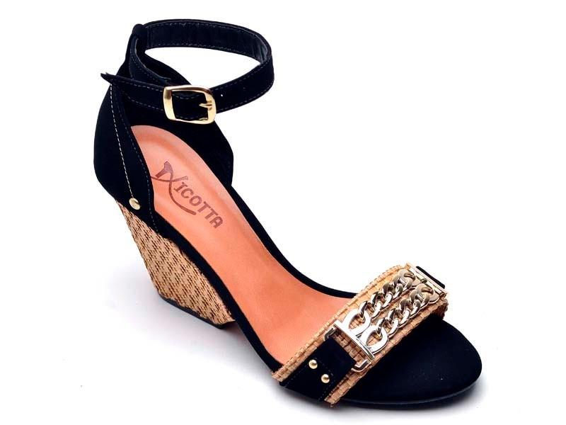 76e0f4e00b sandalia feminina salto super luxo anabela em couro. Carregando zoom.