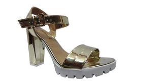 b8f1781b6 Sandália Salto Bebecê Tenho Colcci Feminino - Sapatos Dourado escuro ...