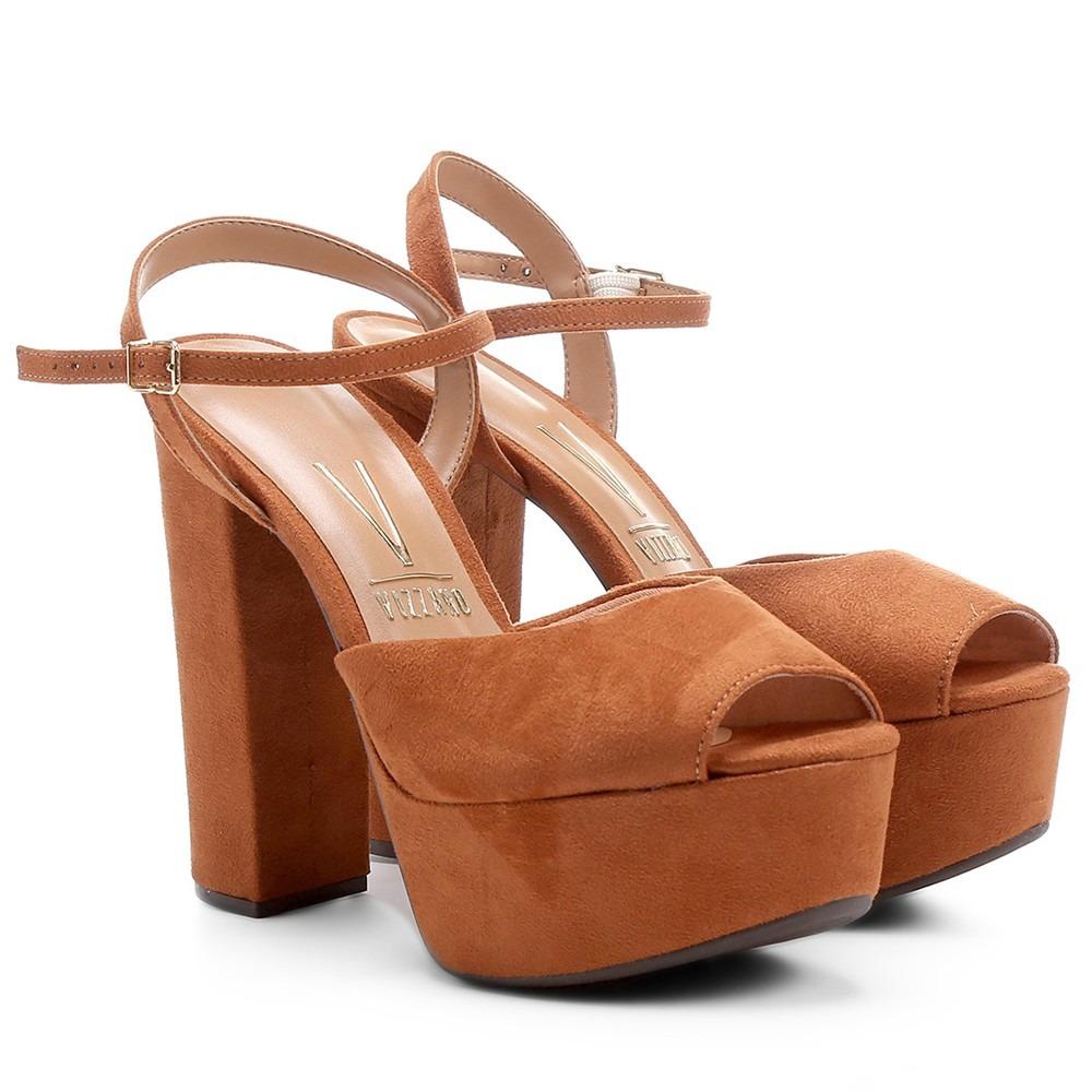 724ac6575 sandália feminina social vizzano meia pata camurça caramelo. Carregando  zoom.