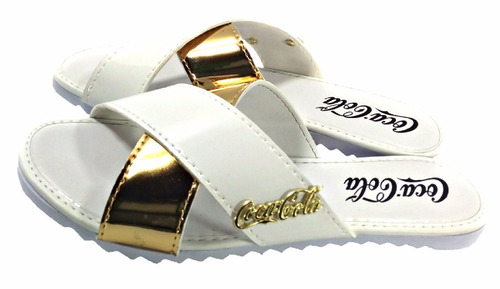 sandália feminina tratorada coca cola dourada metalizada