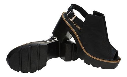 sandalia feminina tratorada preto sintetico | p01sip.st