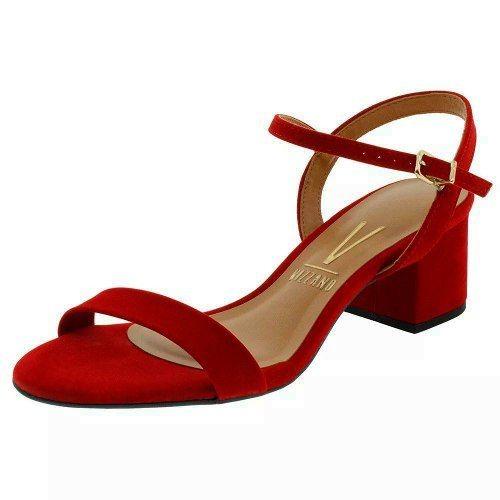 bb89e700f Sandalia Feminina Vermelha Nobuck Salto Medio Grosso Vizzano - R$ 79 ...