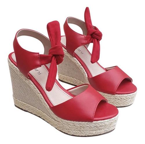 sandalia feminina vermelha salto alto corda meia pata