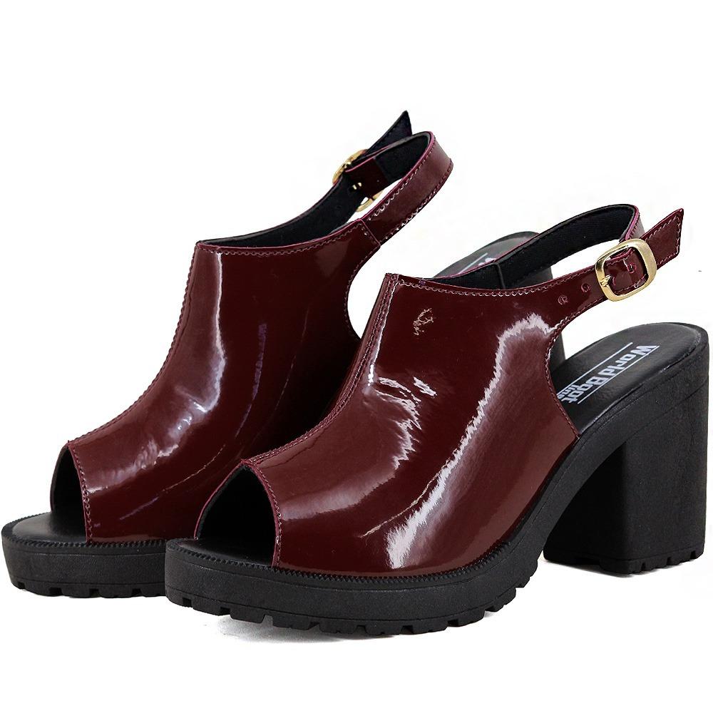 ac40716892 sandália feminina verniz salto alto grosso tratorada vermelh. Carregando  zoom.
