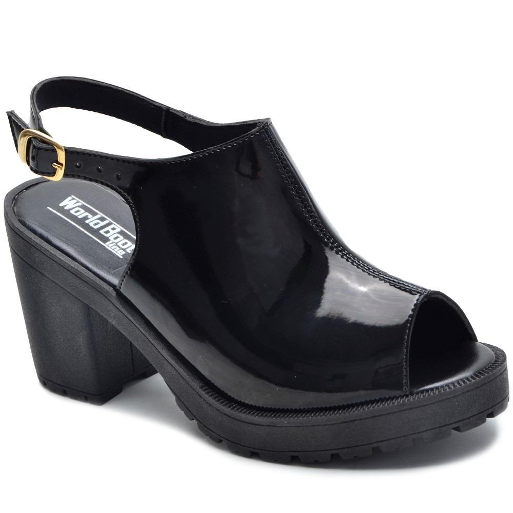 63e606f8fb sandália feminina verniz tratorada salto grosso 4 cores. Carregando zoom.