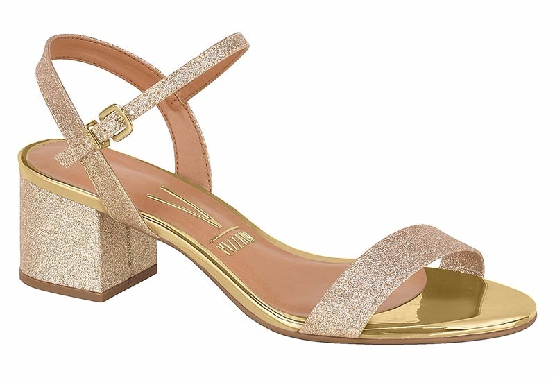 998e5c4bf sandália feminina vizzano 6291125 salto grosso glitter ouro. Carregando zoom .