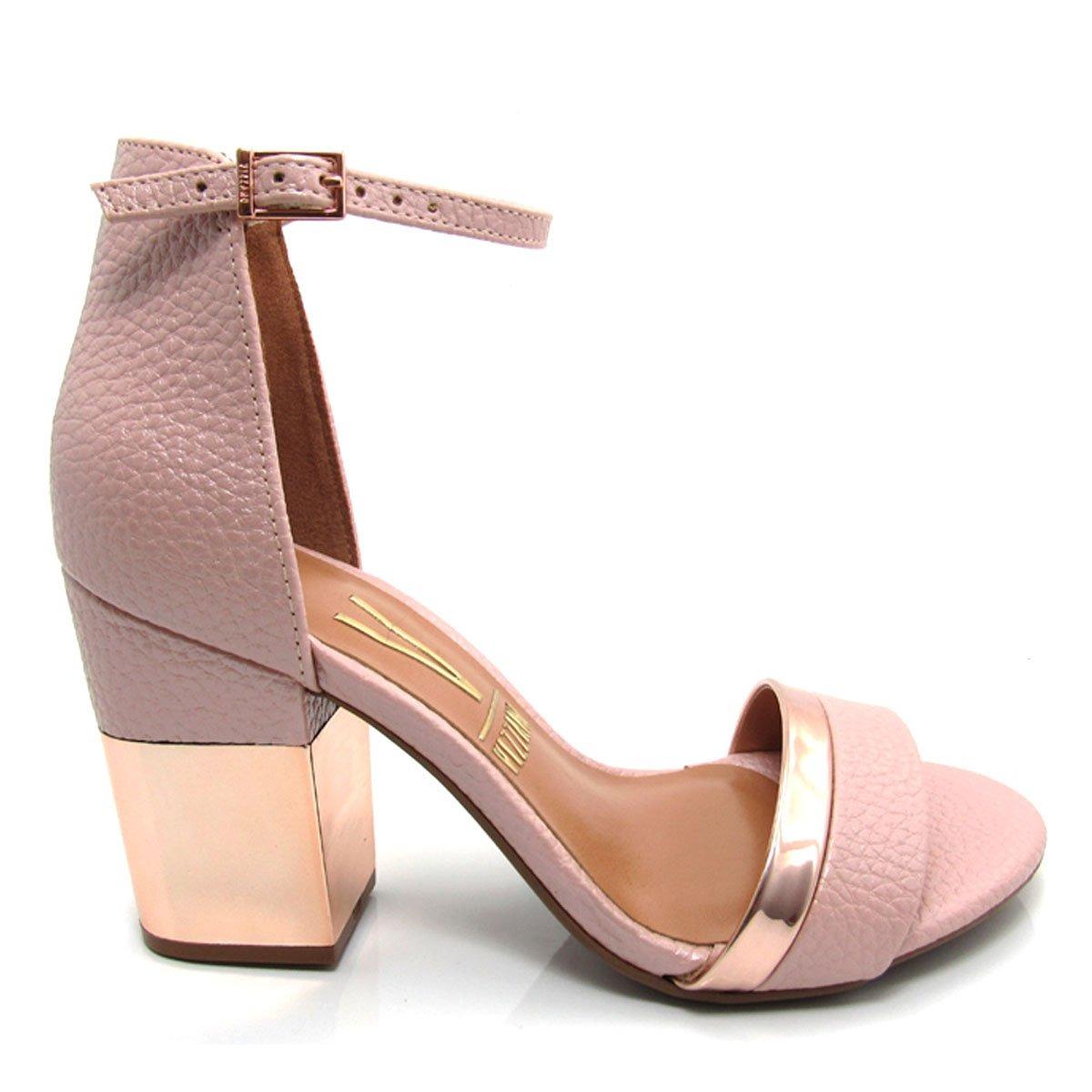 ec2c43934 sandália feminina vizzano 6357201 salto grosso rosa, preta. Carregando zoom.
