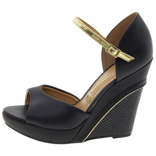sandália feminina vizzano anabela preto dourado camurça