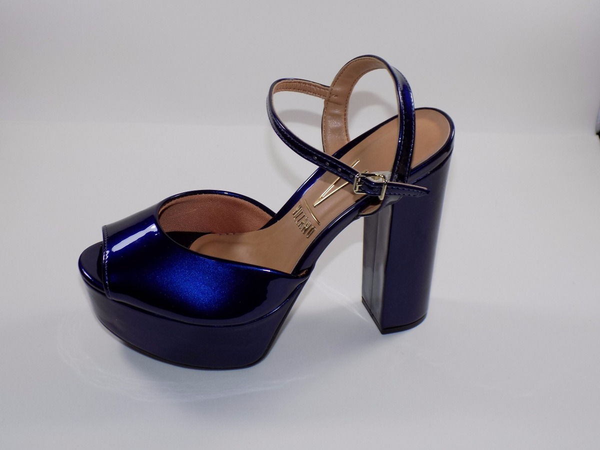 7b62ccb049 sandália feminina vizzano meia pata super alta - azul verniz. Carregando  zoom.