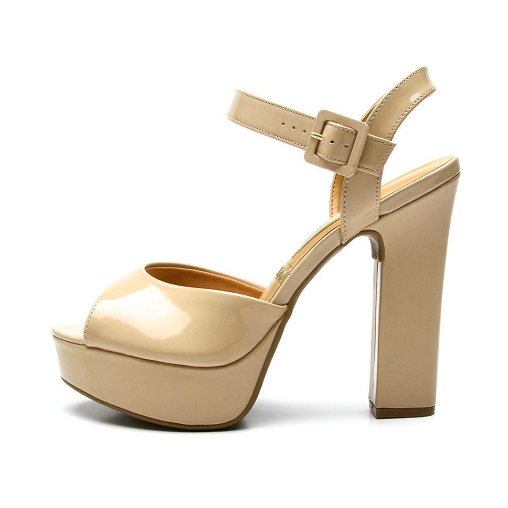 f3b366e06 sandalia feminina vizzano nude salto alto grosso meia pata. Carregando zoom.
