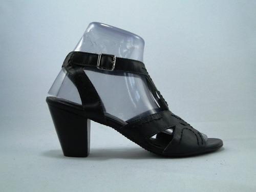 sandalia feminino couro preto salto 7 cm mor 1004-23