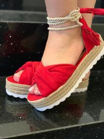 5d8ba941f4 Sandalia Anabela De Amarrar Vermelha Feminino - Sapatos no Mercado Livre  Brasil