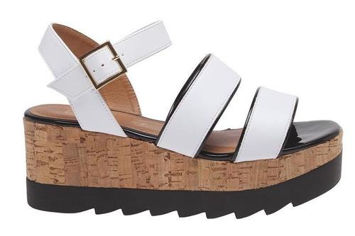 sandália flatform branca com salto de cortiça offline