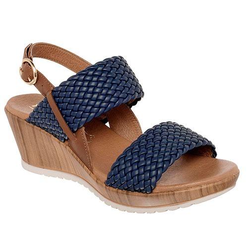 1a8cd74675e Sandalia Flexi Dama Azul Tacon Corrido - $ 1,280.00 en Mercado Libre