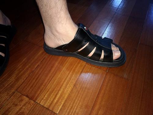 sandália franciscana ortopédica chinelo masculino  em couro