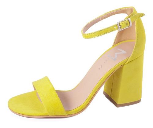 sandalia gamuza / cuero sin plataforma  taco bajo 7cm 2020