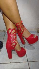 9dbb81d098 Sandalia Gladiadora Salto Alto Cano Longo - Sandálias e Chinelos para  Feminino no Mercado Livre Brasil