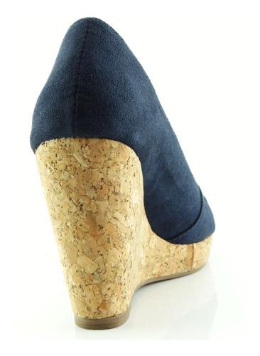 sandália glamm anabela tiras cruzadas azul sapatos mania