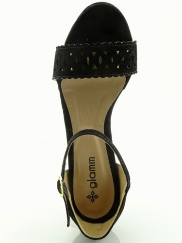 sandália glamm lux preta - sapatos mania