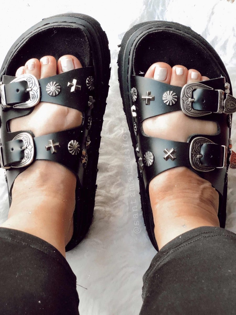 Sandalia De Plataforma Simil Gomones Mujer Strass Tachas Con b7vY6yfg