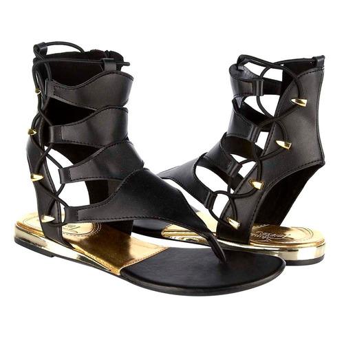 sandalia griega negro-dorado 12992