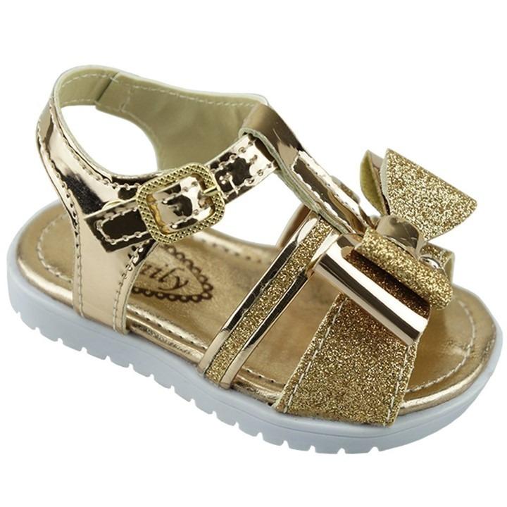 69482f2cfe Sandália Infantil Feminina Bebê Dourada Laço E Fivela - R  38
