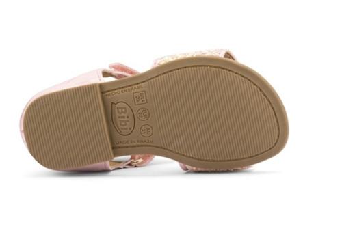 sandália infantil feminina miss bibi glitter rosa