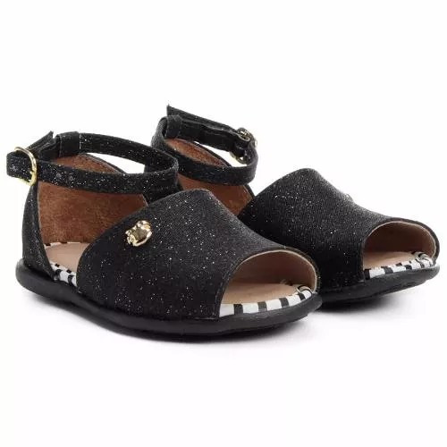 sandália infantil feminina pe com pe preto glitter