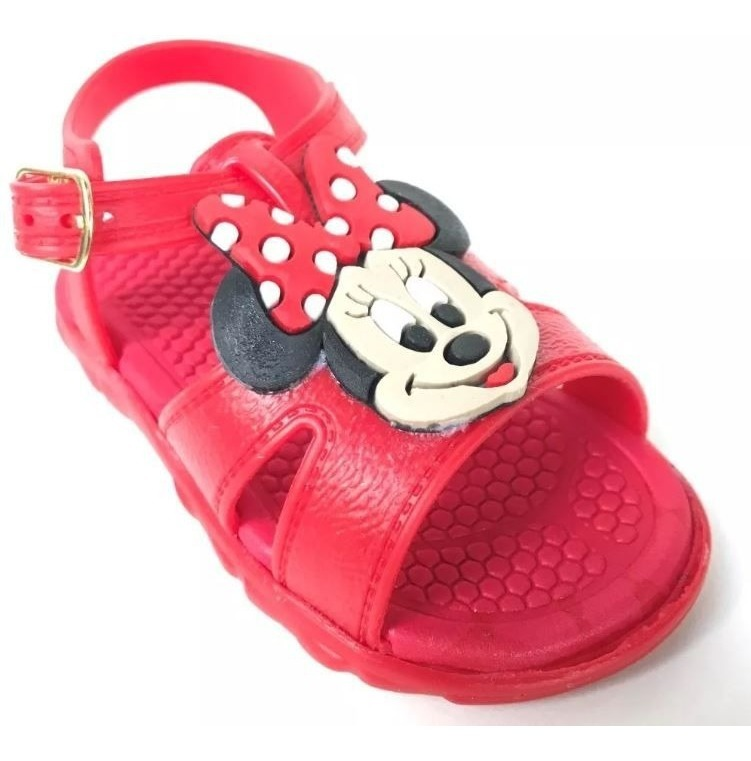 Sandalia Infantil Menina Bebe Rosto Minnie Vermelha C C R 24