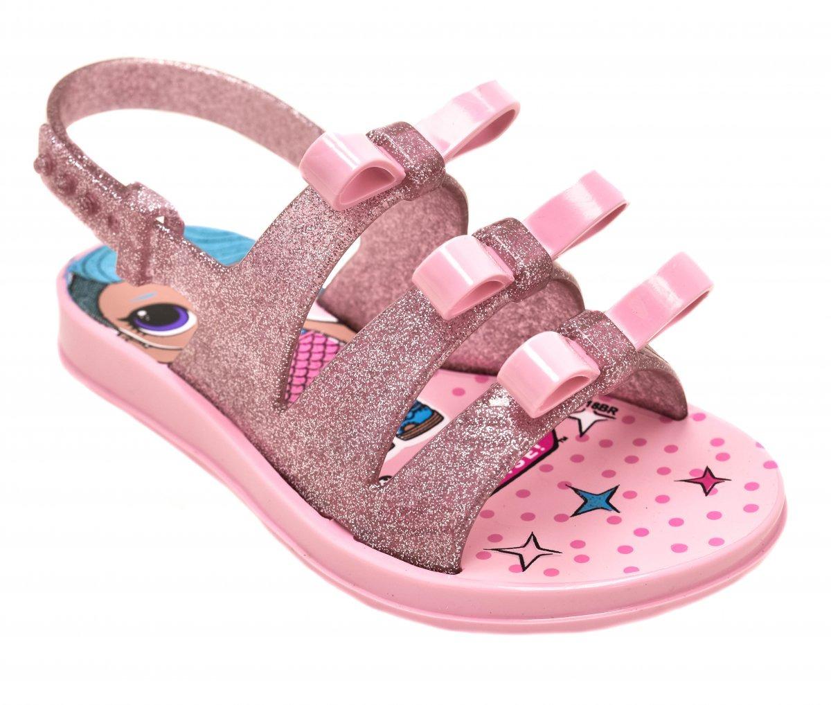 f3e4d322bb sandália infantil menina l.o.l bag. 21836 rosa com laços. Carregando zoom.