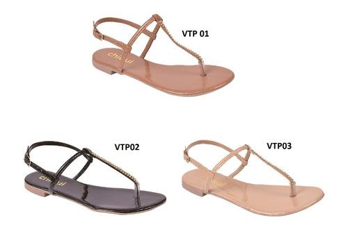 sandalia kit 3 prs feminina rasteira rasteirinha chqubd e3l