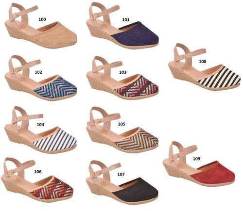 sandalia kit 6 pr anabela salto alto feminina chquw -2