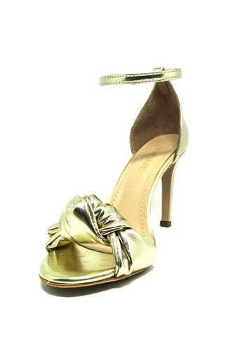 c54390eb2 Sandalia Laço Festa Branca E Dourada Champagne Salto Alto - R$ 108 ...