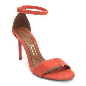 7e7f7a765a Sandalia Tira Fina Salto Medio - Sapatos para Feminino Laranja no Mercado  Livre Brasil