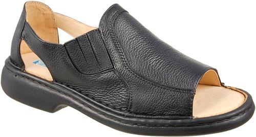 sandalia masculina anti stress 100% couro modelo franciscana