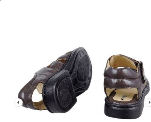 sandália masculina anti stress couro ortopédica chinelo top