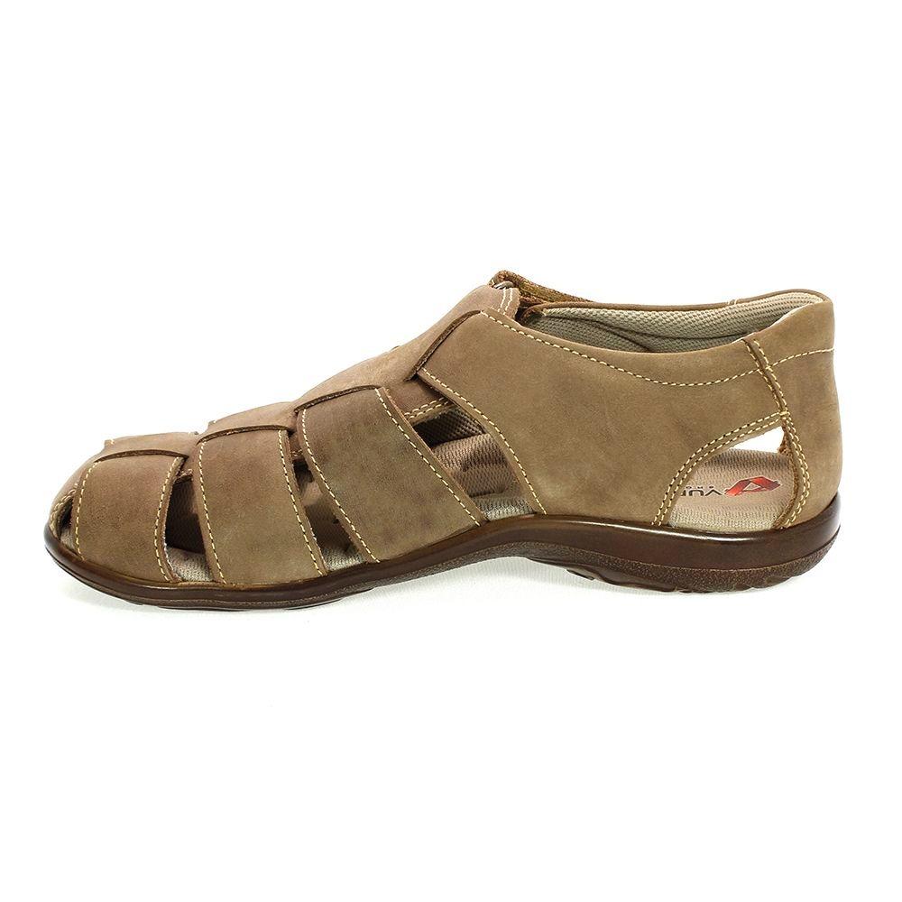 b90054960 sandália masculina casual em couro marrom vudalfor. Carregando zoom.