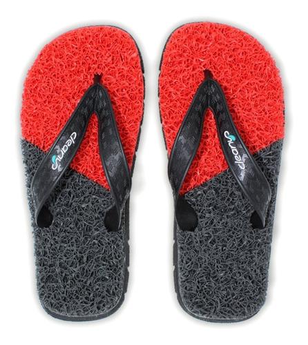 sandália masculina cleanup massageadora ms103 vermelho cinza