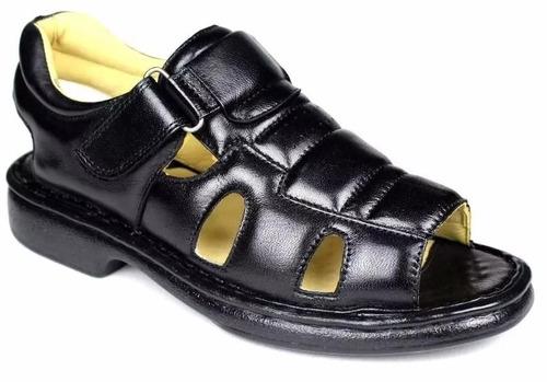 sandalia masculina confortavel anti stress couro ortopédica