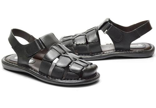 sandália masculina em couro preto - ref: 608.501