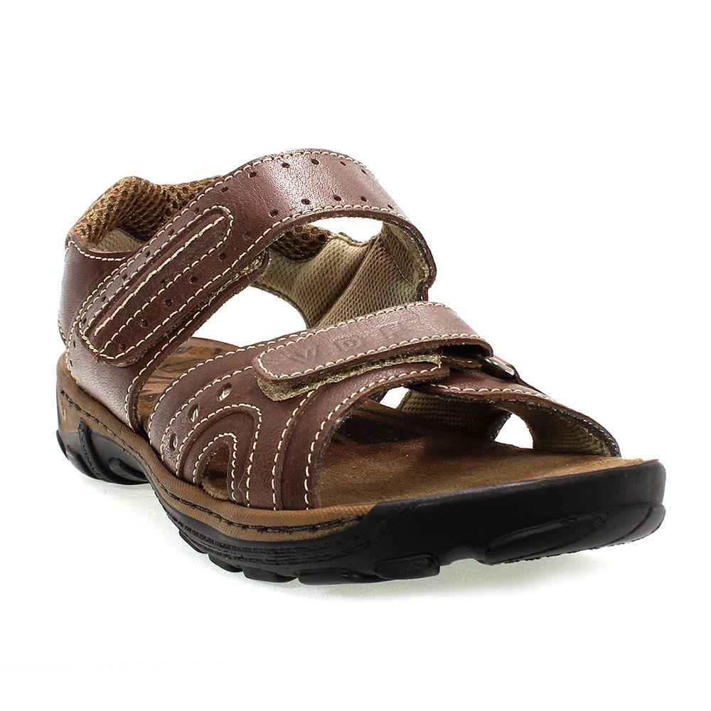 bc5637915 Sandália Masculina Em Couro Shoes Marrom Vudalfor - R$ 129,90 em ...