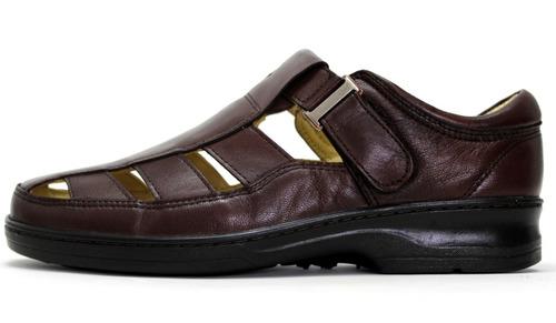 sandália masculina fechada/aberta couro legítimo confortável
