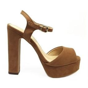 a8810817c Sandalia Meia Pata Salto Grosso Camurça Caramelo - Sapatos com o Melhores  Preços no Mercado Livre Brasil